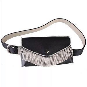 Rhinestone Tassel Belt Bag Pouch NWT